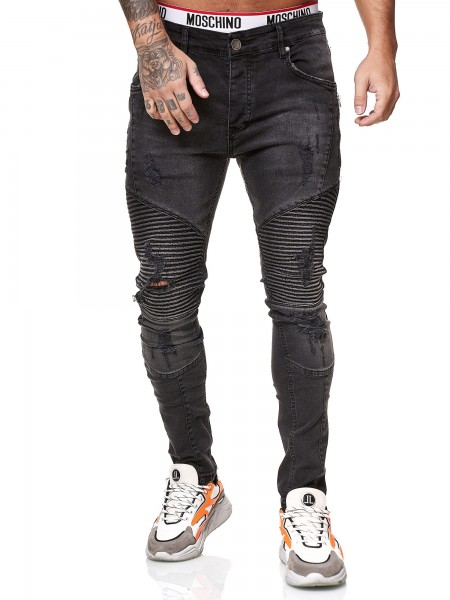 Designer Herren Jeans Bikerhose Regular Skinny Fit Jeanshose Destroyed Stretch Modell 8025