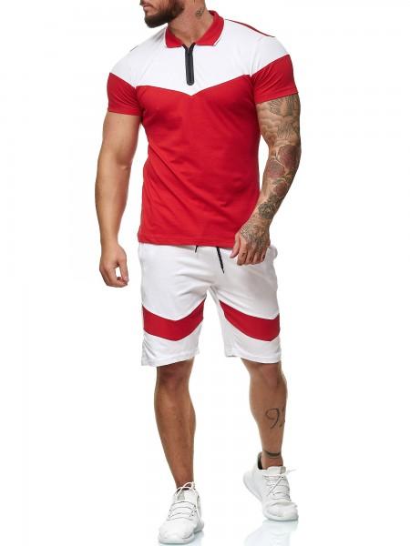 Code47 Herren Short-Jogginganzug Shortanzug Sportanzug Short T-Shirt Modell 12100