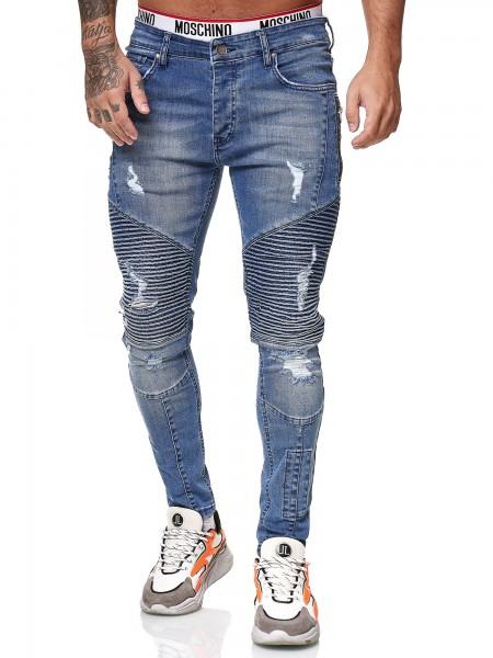 Designer Herren Jeans Bikerhose Regular Skinny Fit Jeanshose Destroyed Stretch Modell 8024