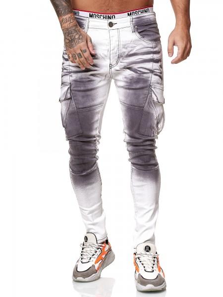 Designer Herren Jeans Cargohose Regular Skinny Fit Jeanshose Destroyed Stretch Modell 8020