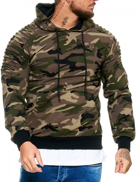 Herren Hoodie Kapuzenpullover Camouflage Pulli
