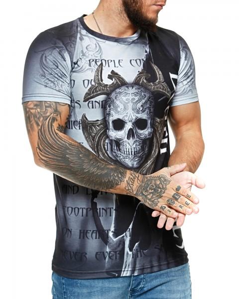 Herren T-Shirt Kurzarm Rundhals Death Souls Modell 1487
