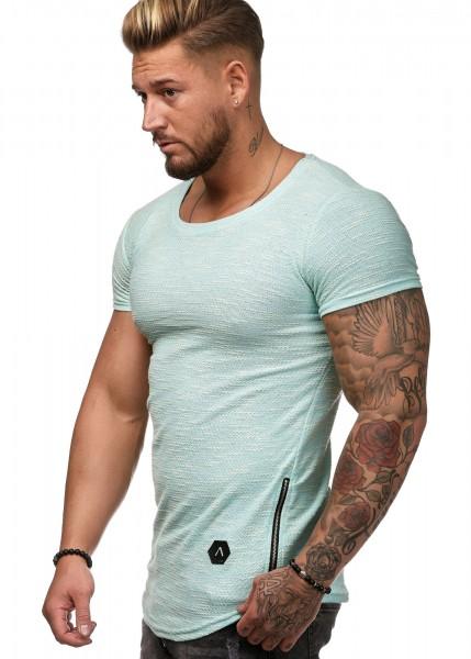 Herren T Shirt Strick Squad Round Neck Zipper Kurzarm S-XXL
