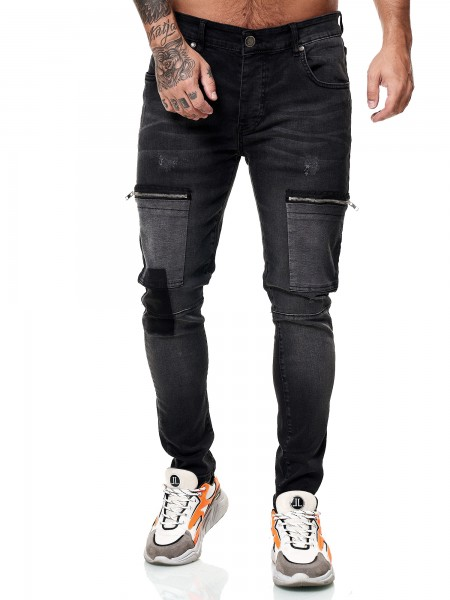 Designer Herren Jeans Cargohose Regular Skinny Fit Jeanshose Destroyed Stretch Modell 8035