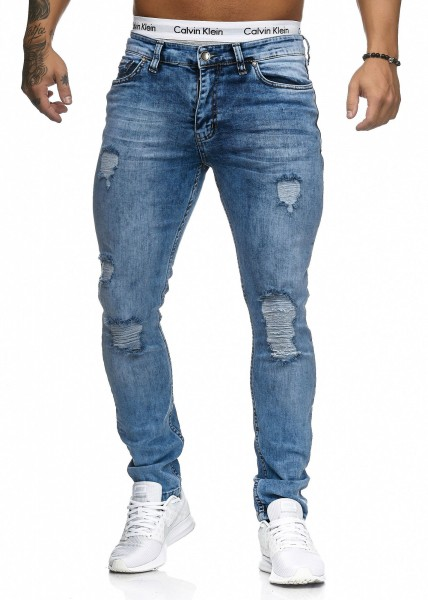 Jeans Denim Slim Fit Used Design Modell 5116 Blue Code47 Herren