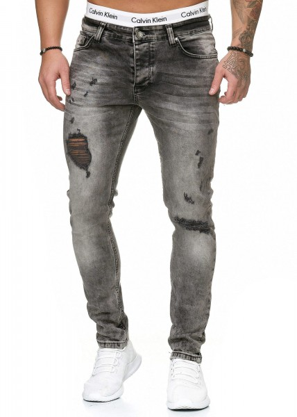 Code47 Herren Jeans Denim Slim Fit Used Design Modell 5097 Grau