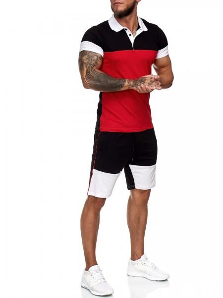 Code47 Herren Short-Jogginganzug Shortanzug Sportanzug Short T-Shirt Modell 12114
