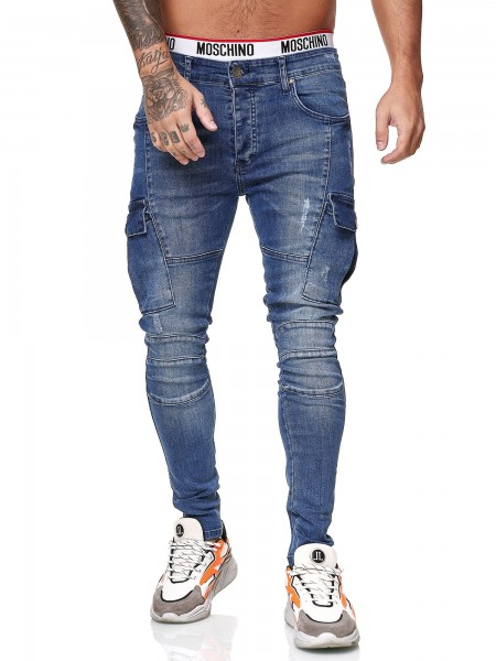 Designer Herren Jeans Cargohose Regular Skinny Fit Jeanshose Destroyed Stretch Modell 8018