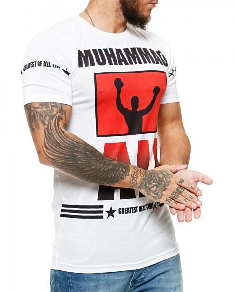 Herren T-Shirt Kurzarm Rundhals Muhammad Ali Modell 1456