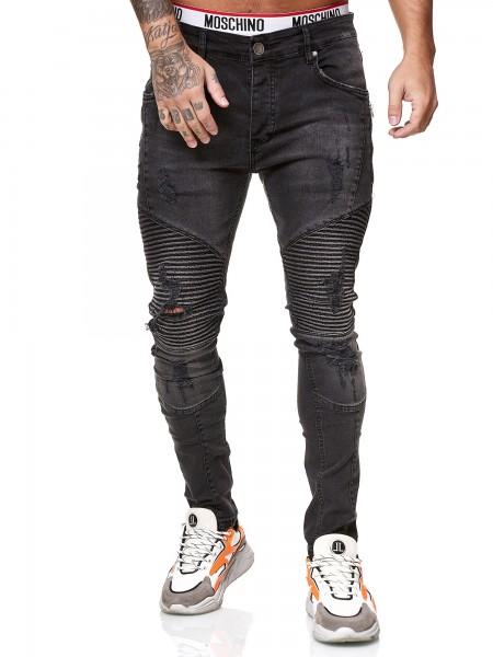Designer Herren Jeans Bikerhose Regular Skinny Fit Jeanshose Destroyed Stretch Modell 8025