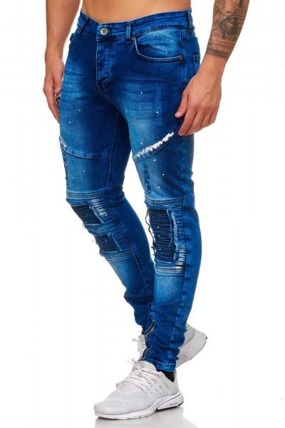Röhrenjeans Blau Patch 5005