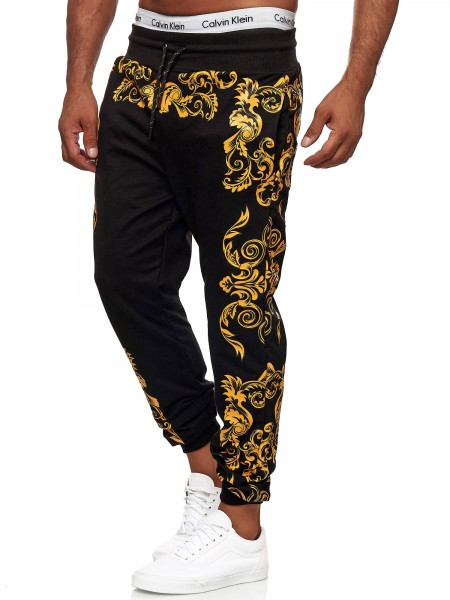 Code47 Herren Jogginghose Barock Fitnesshose Jogging Hose Pants Sporthose Männer Trainingshose Gym L