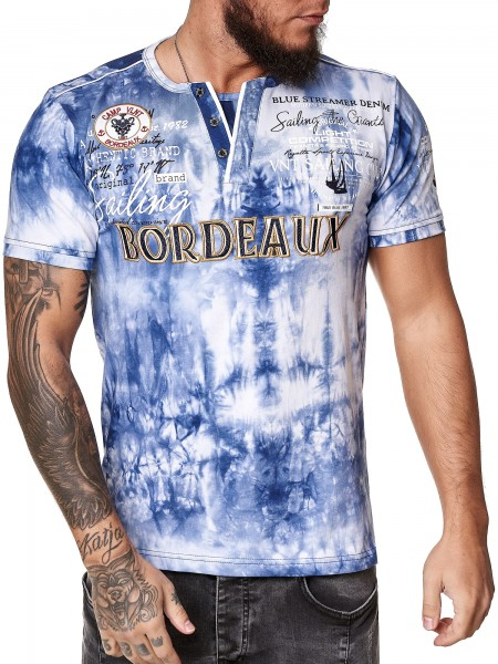 Code47 Herren T-Shirt Kurzarm Rundhals Bordeaux Tee Modell 3589
