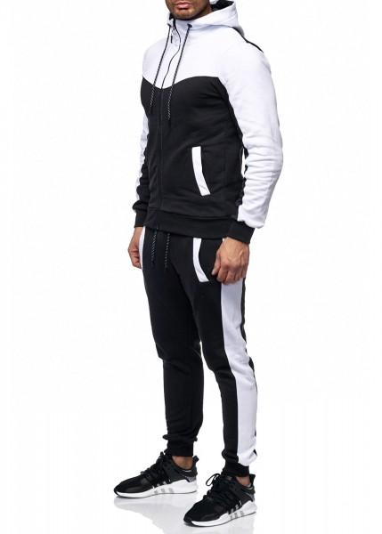 Herren Jogginganzug Jacke Sport Kontrast Hose Fitness Hoodie Basic