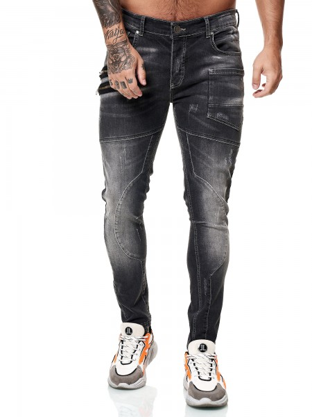 Designer Herren Jeans Cargohose Regular Skinny Fit Jeanshose Destroyed Stretch Modell 8030