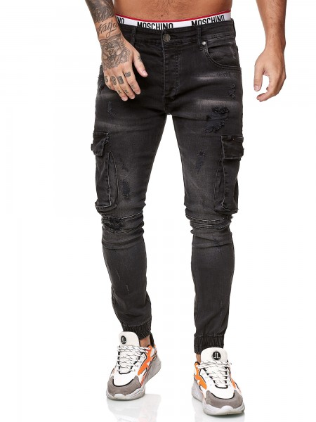 Designer Herren Jeans Cargohose Regular Skinny Fit Jeanshose Destroyed Stretch Modell 8012