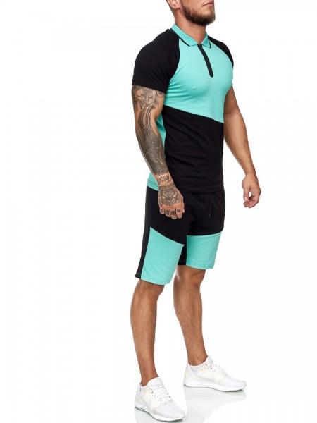 Code47 Herren Short-Jogginganzug Shortanzug Sportanzug Short T-Shirt Modell 12119