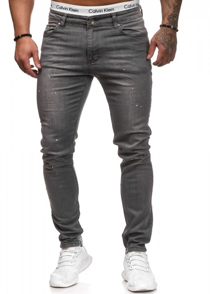Code47 Herren Jeans Denim Slim Fit Used Design Modell 5121 Grey
