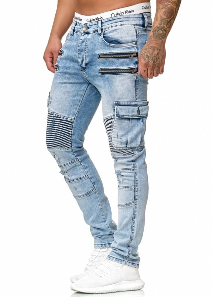 Code47 Herren Jeans Hose Jeanshose Stretch Blau Freizeithose Denim Slim Fit Modell 5159