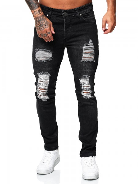 Code47 Herren Jeans Denim Slim Fit Used Design 5122