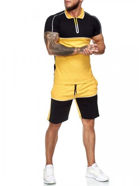 Code47 Herren Short-Jogginganzug Shortanzug Sportanzug Short T-Shirt Modell 12118