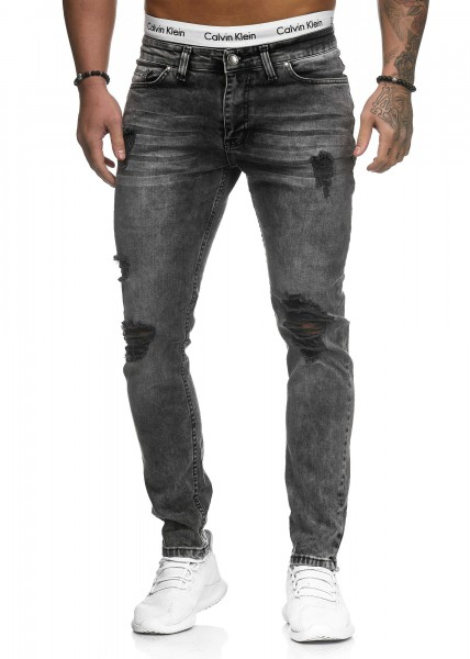 Code47 Herren Jeans Denim Slim Fit Used Design Modell 5117 Grau