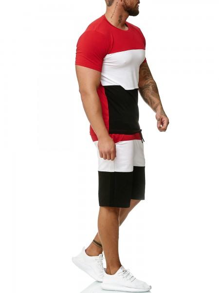 Jogginganzug Trainingsanzug Sommer Kurz Summer Fitness Gym Zweiteiler Herren Code47
