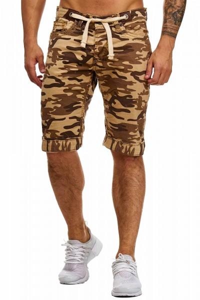 Code47 Herren Bermuda Shorts Herren Sport Shorts Freizeithose Kurze Hosen Cargohosen 4056 Camouflage