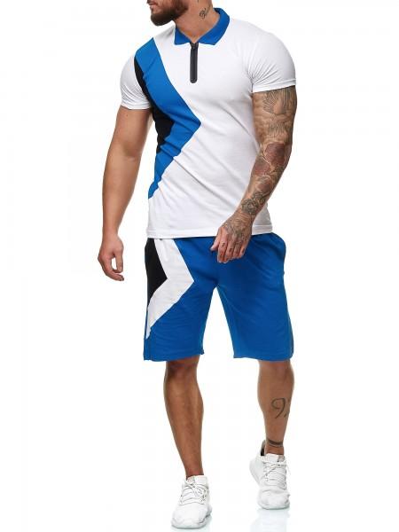 Code47 Herren Short-Jogginganzug Shortanzug Sportanzug Short T-Shirt Modell 12101