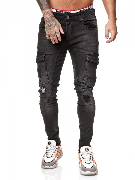 Designer Herren Jeans Cargohose Regular Skinny Fit Jeanshose Destroyed Stretch Modell 8022