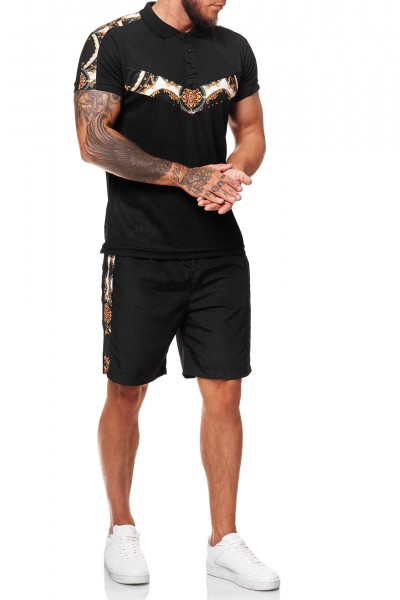 Code47 Herren Short-Jogginganzug Shortanzug Sportanzug Barock Muster Seitenstreifen Short T-Shirt Mo