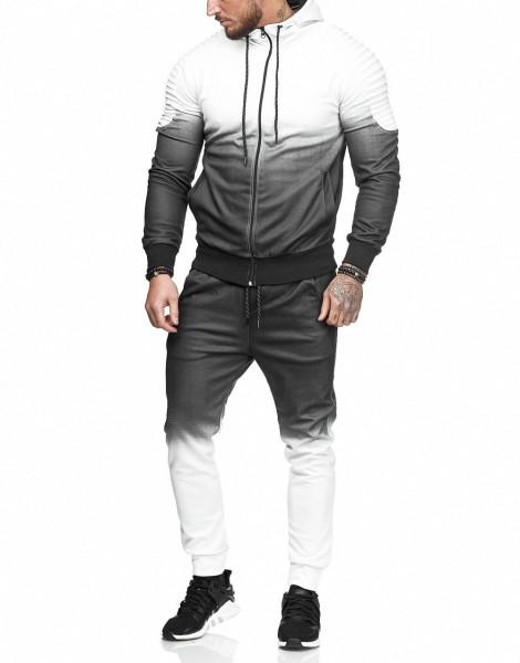 Herren Jogginganzug Kontrast Jacke Sport Hose Fitness Jacke Basic