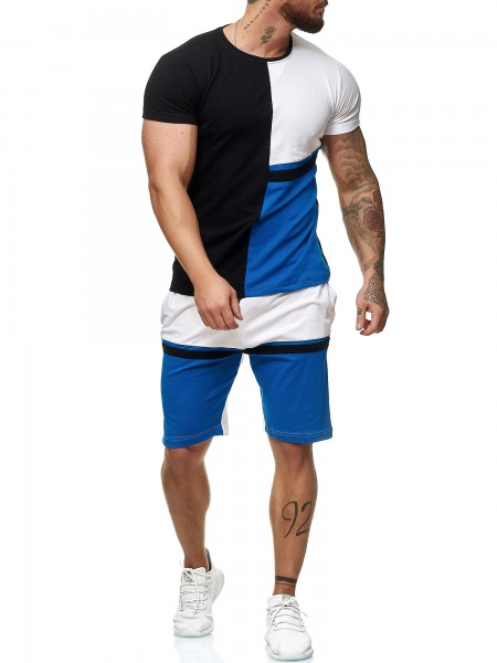 Code47 Herren Short-Jogginganzug Shortanzug Sportanzug Short T-Shirt Modell 12104