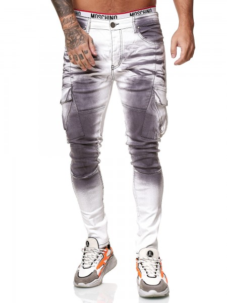 Designer Herren Jeans Cargohose Regular Skinny Fit Jeanshose Destroyed Stretch Modell 8020