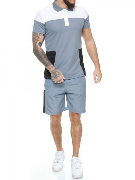 Code47 Herren Short-Jogginganzug Shortanzug Sportanzug Short T-Shirt Modell 12131