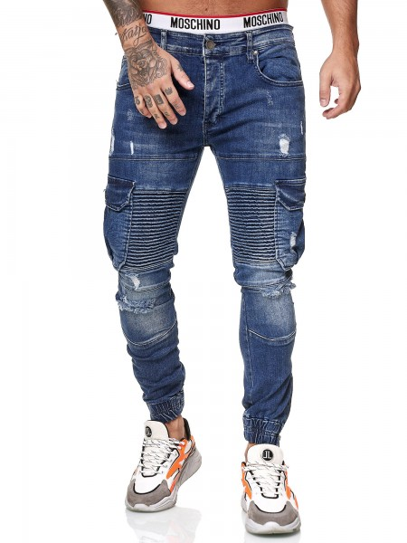 Designer Herren Jeans Cargohose Regular Skinny Fit Jeanshose Destroyed Stretch Modell 8014